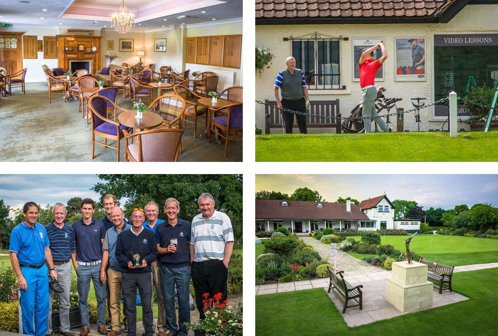cafe table and chairs, golfer swinging, group of golfers, front of club house